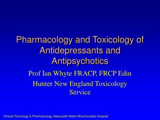 pharmacology and toxicology of antidepressants and antipsychotics