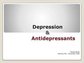 Depression & Antidepressants