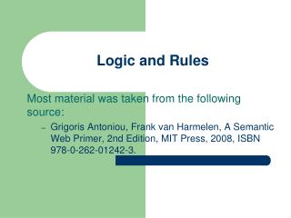 Logic and Rules