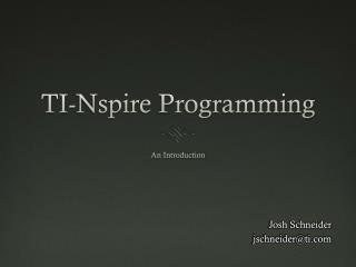 TI-Nspire Programming