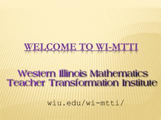 Welcome to WI-MTTI
