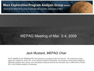 MEPAG Meeting of Mar. 3-4, 2009