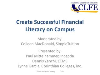 Create Successful Financial Literacy on Campus