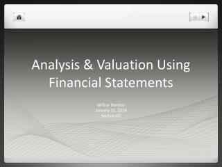 Analysis & Valuation Using Financial Statements
