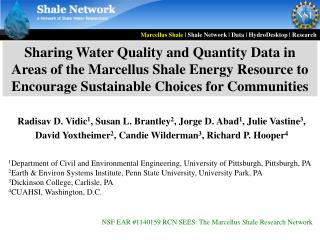 Sharing Water Quality and Quantity Data in Areas of the Marcellus Shale Energy Resource to Encourage Sustainable Choices