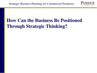 How Can the Business Be Positioned Through Strategic Thinking?