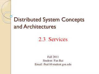 Distributed System Concepts and Architectures