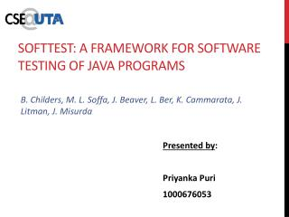 SoftTest : A Framework for Software  Testing  of Java Programs