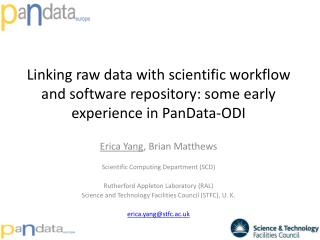 Linking raw data with scientific workflow and software repository: some early experience in PanData-ODI