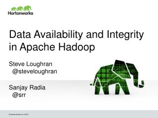 Data Availability and Integrity in Apache Hadoop