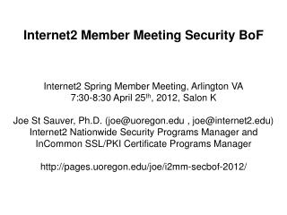 Internet2 Member Meeting Security  BoF