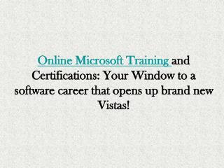Microsoft Online Training