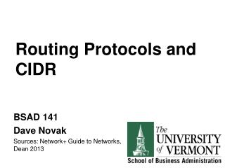 Routing Protocols and CIDR