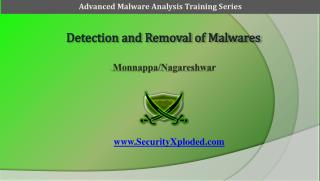 Detection  and Removal of  Malwares