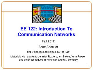 EE 122: Introduction To Communication Networks