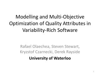 Modelling and Multi-Objective Optimization of Quality Attributes in Variability-Rich Software