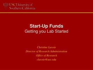Start-Up Funds Getting you Lab Started