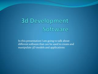3d Development Software