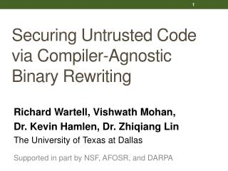 Securing Untrusted Code via Compiler-Agnostic Binary Rewriting