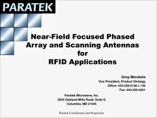 near-field focused phased array and scanning antennas for rfid applications