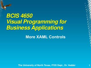 BCIS 4650  Visual Programming for Business Applications