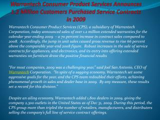 Warrantech Consumer Product Services Announces 1.2 Million C