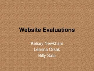 Website Evaluations
