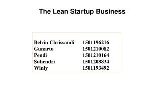 The Lean Startup Business