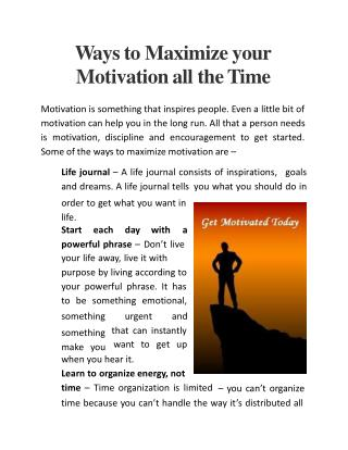 Ways to Maximize your Motivation all the Time