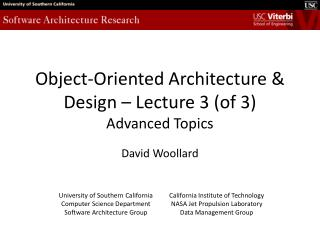 Object-Oriented Architecture & Design – Lecture 3 (of 3) Advanced Topics