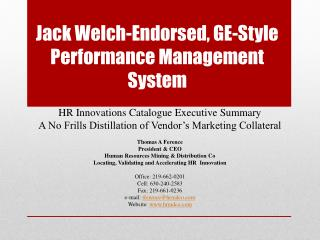 Jack Welch-Endorsed, GE-Style Performance Management System