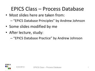 EPICS Class – Process Database