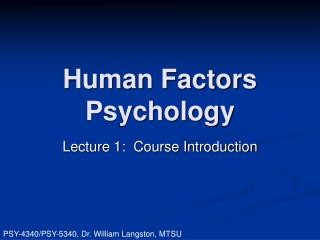 human factors psychology