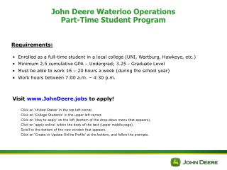 John Deere Waterloo Operations Part-Time Student Program