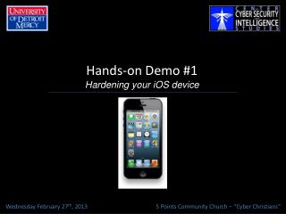 Hands-on Demo #1 Hardening your  iOS  device
