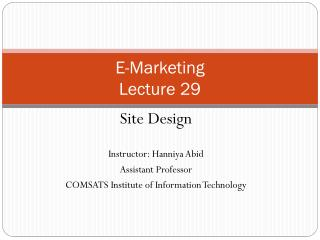 E-Marketing Lecture 29