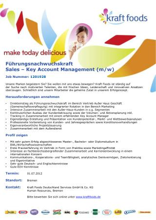 Führungsnachwuchskraft Sales – Key Account Management (m/w)                Job Nummer: 1201928
