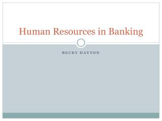 Human Resources in Banking