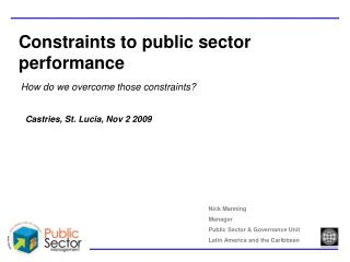 Constraints to public sector performance