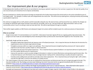 Our improvement plan & our progress