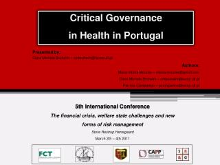 Critical Governance  in Health in Portugal