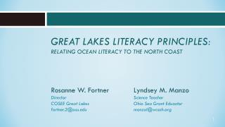 Great Lakes Literacy Principles: Relating Ocean Literacy to the North Coast
