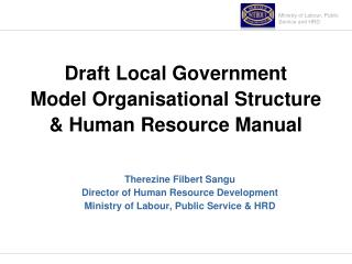 Draft Local Government Model Organisational Structure & Human Resource Manual