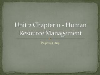 Unit 2 Chapter 11 - Human Resource Management