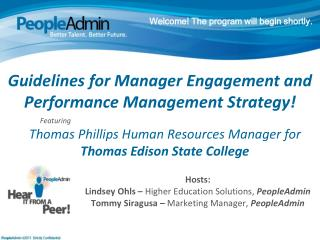 Guidelines for Manager Engagement and Performance Management  Strategy!