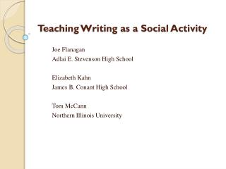 Teaching Writing as a Social Activity