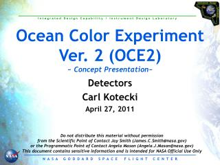 Ocean Color Experiment Ver. 2 (OCE2) ~  Concept Presentation ~