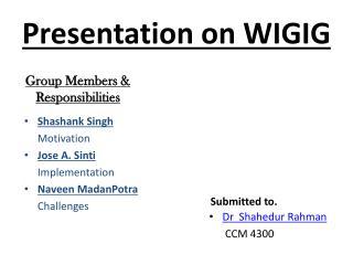 Presentation on WIGIG