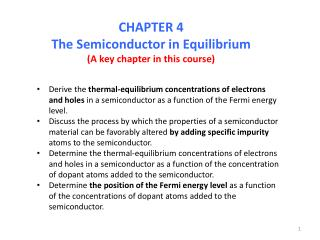 CHAPTER 4 The Semiconductor in Equilibrium (A key chapter in this course)