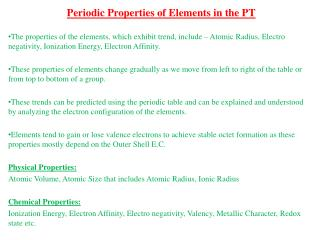 Periodic Properties of Elements in the PT